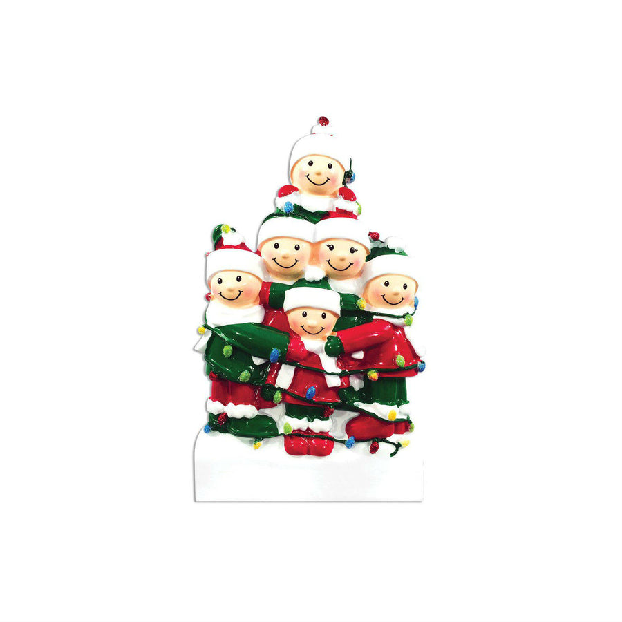 Family of 6 Tangled in Lights Personalized Christmas Ornament