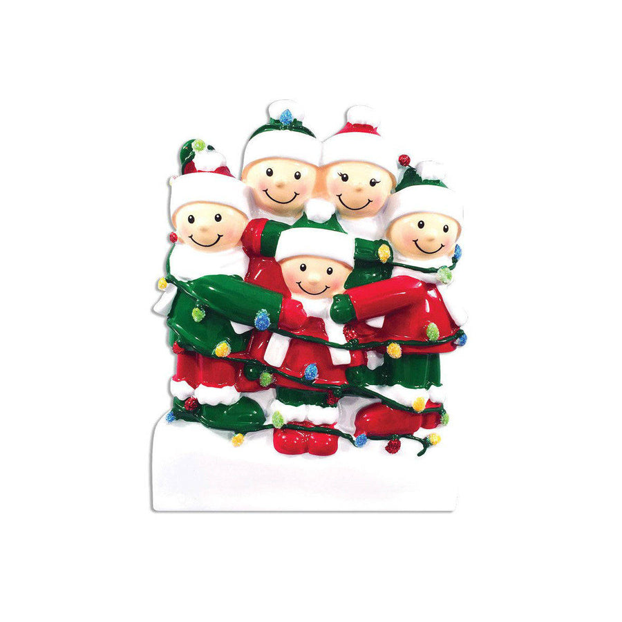 Family of 5 Tangled in Lights Personalized Christmas Ornament