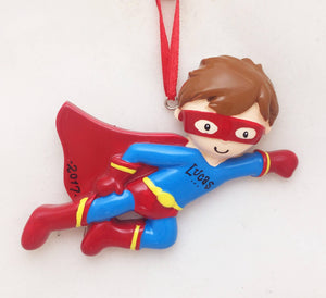 Little Hero Boy Personalized Christmas Ornament / Super Gift for Kids
