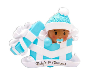 Baby's First Christmas Personalized Ornament / African American Baby Ornament