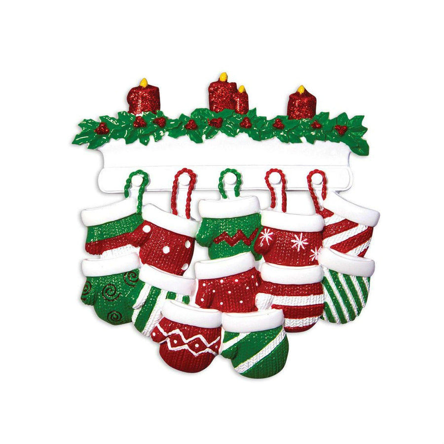 12 Red and Green Mittens Family Personalized Christmas ornament / Large Family / Reunion / Hand printed custom names