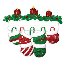 6 Red and Green Mittens Personalized Christmas Ornament