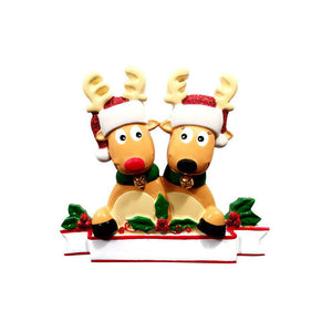 2 Reindeer with Bells Personalized Christmas Ornament