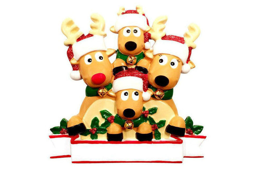 4 Reindeer with Bells Personalized Christmas Ornament