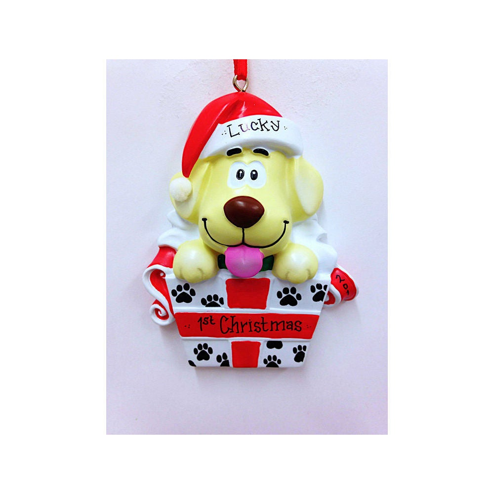Yellow Dog Christmas Ornament / New Puppy Ornament / Pet Christmas Ornament