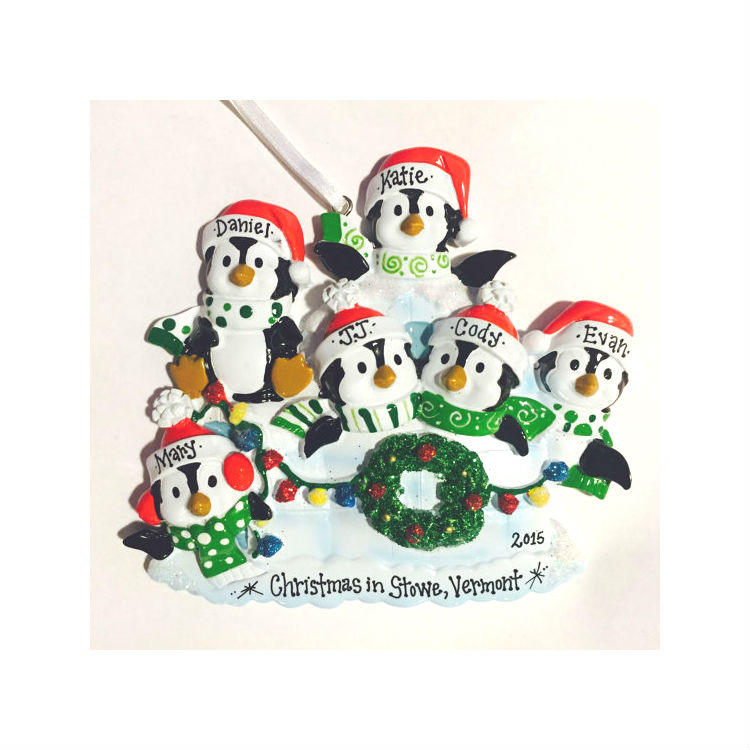 6 Family Penguin Ornament / Personalized Christmas Ornament / Family of Six Ornament / Penguins on an Igloo / Custom Names