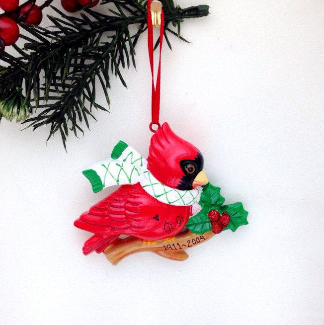 Cardinal Christmas Ornament / Red Cardinal with Scarf / Personalized Ornament / Custom Name or Message