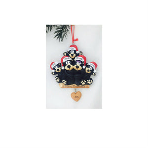 5 Black Bears Personalized Christmas Ornament