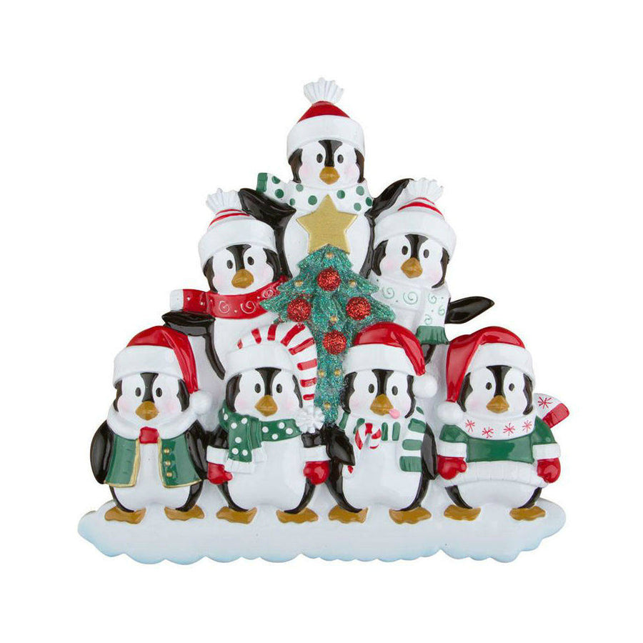 Family of 7 Penguins with a Christmas Tree Personalized Ornament