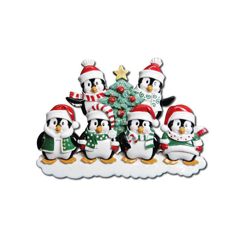 6 Happy Christmas Penguins Personalized Christmas Ornament / Family Christmas / 6 Penguin ornament / Hand Personalized Names