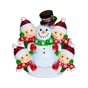 Family of 4 Building a Snowman Personalized Christmas Ornament