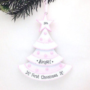 Pink Christmas Tree Personalized Christmas Ornament / Baby's First Christmas / Baby Ornament / Baby Girl