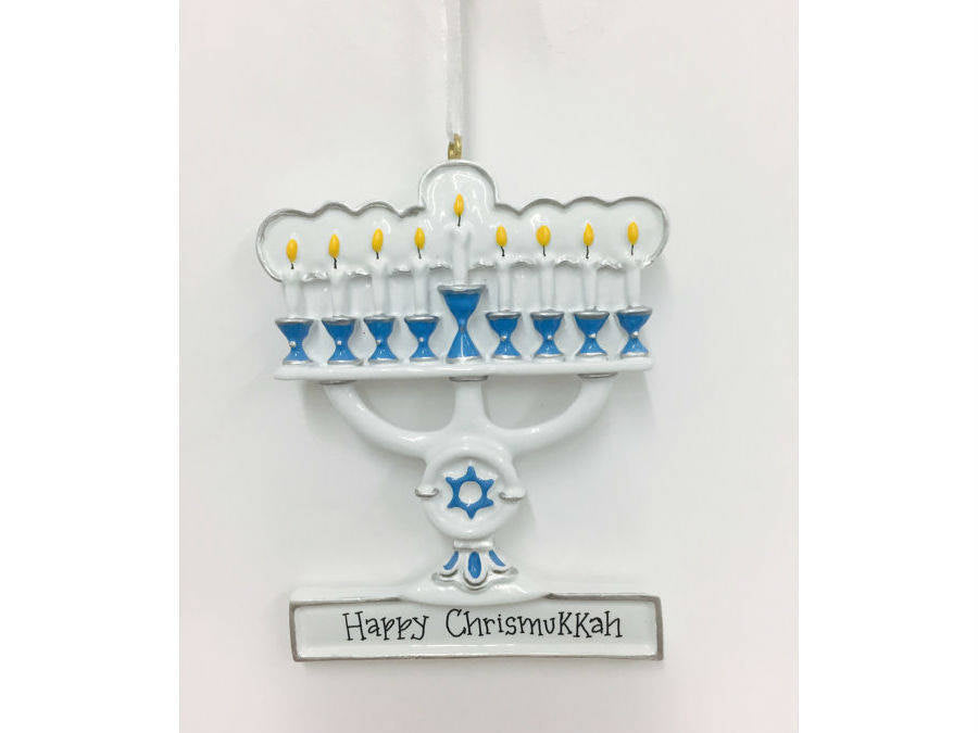 Menorah Personalized Ornament / Blue and White Menorah Ornament / Blended Family Ornament / Hanukkah and Christmas / Judaica