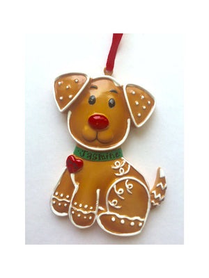 Dog Personalized Christmas Ornament / Gingerbread Dog / Puppy Ornament / Custom Name Added