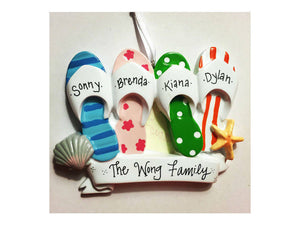 4 Flip Flops Personalized Christmas Ornament