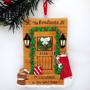 Cabin Door Personalized Christmas Ornament / Log Cabin Ornament