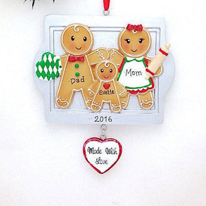 3 Gingerbread Cookies Personalized Christmas Ornament