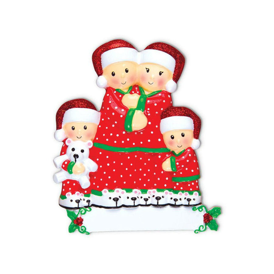 Family of 4 in Matching Pajamas Personalized Christmas Ornament