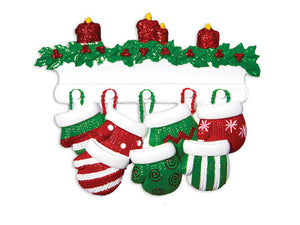 7 Red and Green Mittens Personalized Christmas Ornament