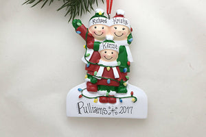 Family of 3 Tangled in Lights Personalized Christmas Ornament