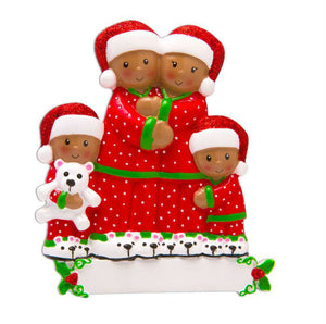 African American Family of 4 in Matching Pajamas Personalized Christmas Ornament