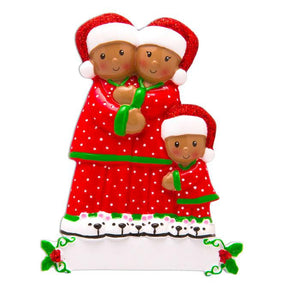 African American Family of 3 in Matching Pajamas Personalized Christmas Ornament
