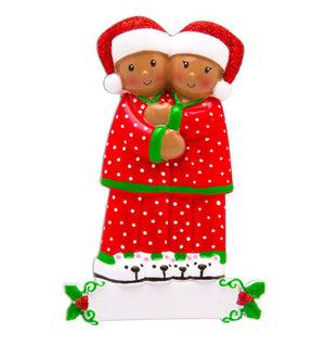 African American Couple in Matching Pajamas Personalized Christmas Ornament / Christmas Pajamas Ornament