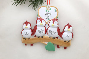 4 Red Birds Personalized Christmas Ornament