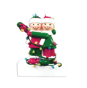 Happy Couple Tangled in Christmas Lights Personalized Christmas Ornament / Couple Ornament / Engaged Ornament /First Christmas