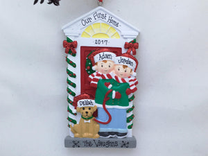 Couple with a Dog Personalized Christmas Ornament