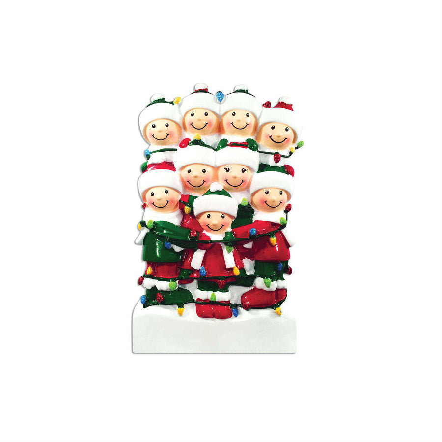 Family of 9 Tangled in Lights Personalized Christmas Ornament