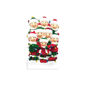 Family of 8 Tangled in Lights Personalized Christmas Ornament