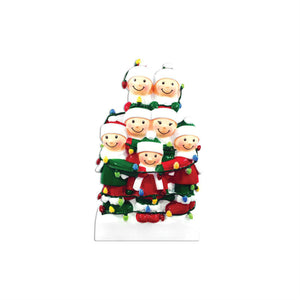 Family of 7 Tangled in Lights Personalized Christmas Ornament