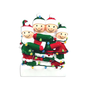 Family of 4 Tangled in Lights Personalized Christmas Ornament