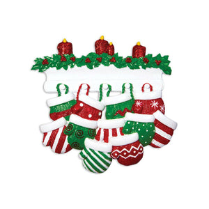 11 Red and Green Mittens Personalized Christmas Ornament