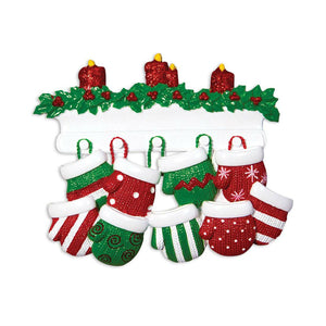 9 Red and Green Mittens Personalized Christmas Ornament