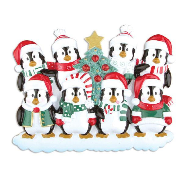 Family of 8 Penguins with a Christmas Tree Personalized Ornament