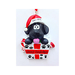 Black Dog Christmas Ornament / New Puppy Ornament / First Pet / First Dog / Pet Christmas Ornament