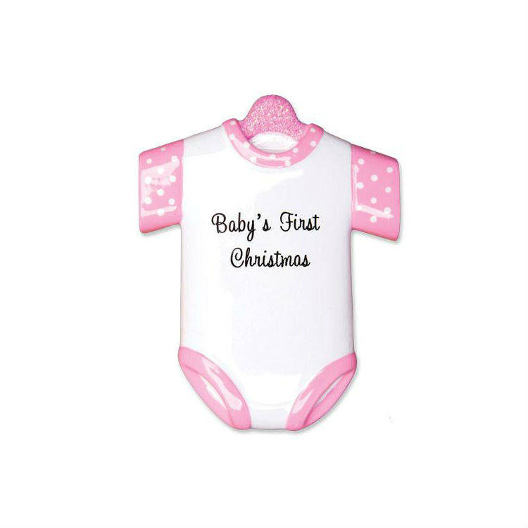 Pink Onesie Baby's First Christmas Ornament / Personalized Baby Ornament / Baby Gift / New Baby / Baby Shower