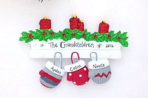 3 Red and Grey Mittens Personalized Christmas Ornament
