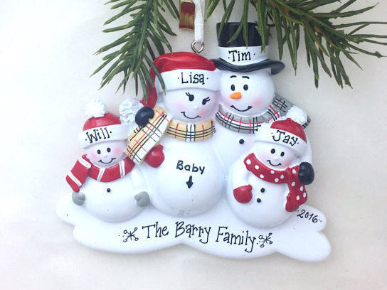 New Baby Makes Five Personalized Christmas Ornament