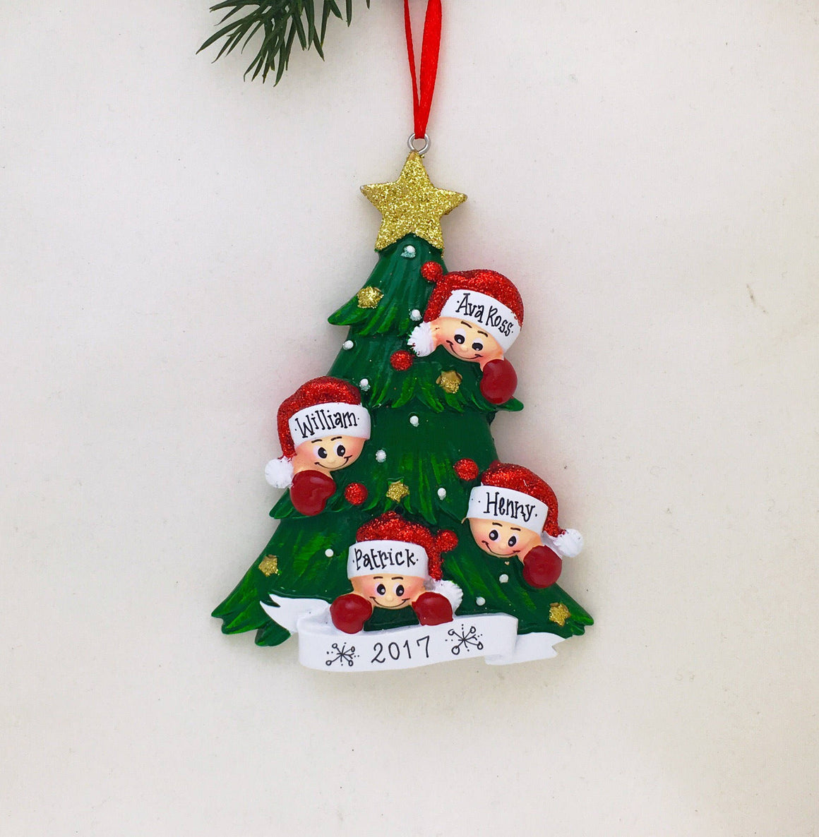 Family of 4 Christmas Tree Personalized Ornament