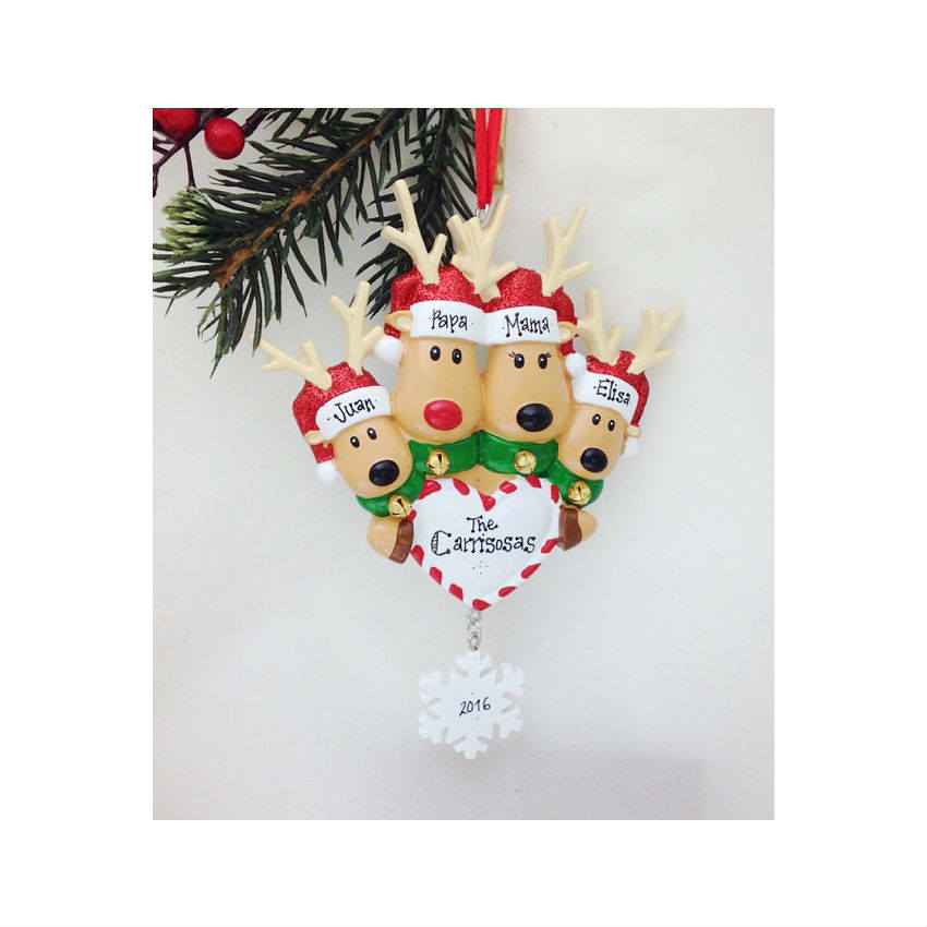 4 Reindeer with Heart and Snowflake Personalized Christmas Ornament