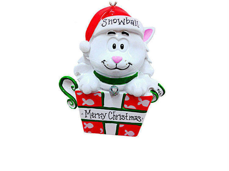 White Cat Personalized Christmas Ornament / White Kitten Christmas Ornament / Pet Christmas Ornament