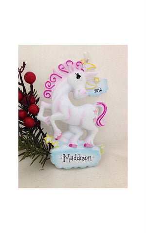 Unicorn Personalized Christmas Ornament / Custom Names or Message / Stocking Stuffer