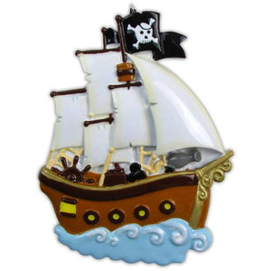 Pirate Ship Personalized Christmas Ornament / Child Christmas Ornament / Gift for kids
