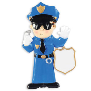 Policeman Personalized Christmas Ornament / Police Officer / Toddler Ornament / Child Ornament / Hand Personalized