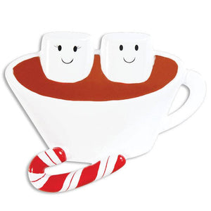 2 Marshmallows in Hot Chocolate Personalized Christmas Ornament