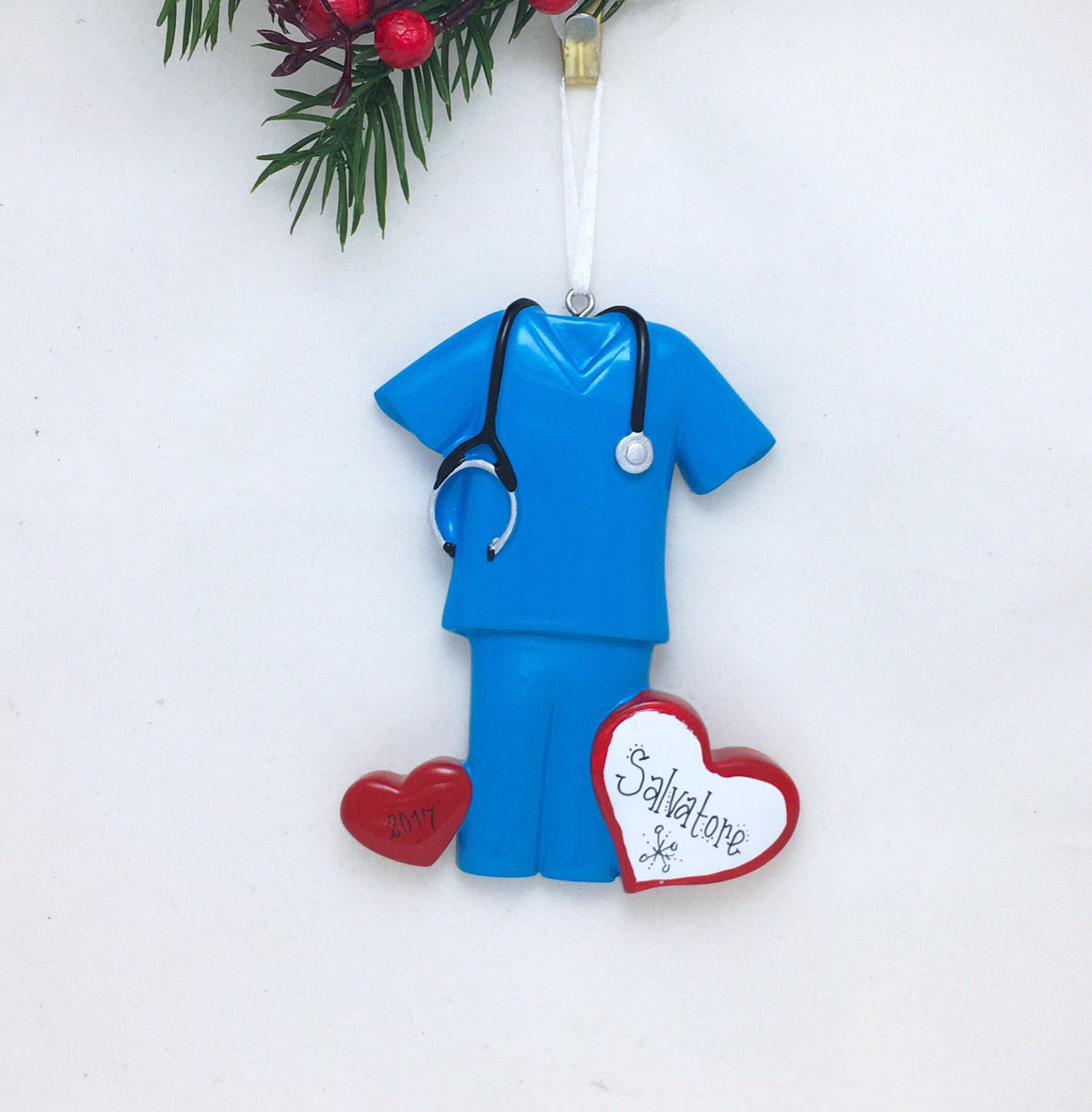 Blue Scrubs with Hearts Personalized Christmas Ornament / Nurse Ornament / Doctor Ornament / Hand Personalized
