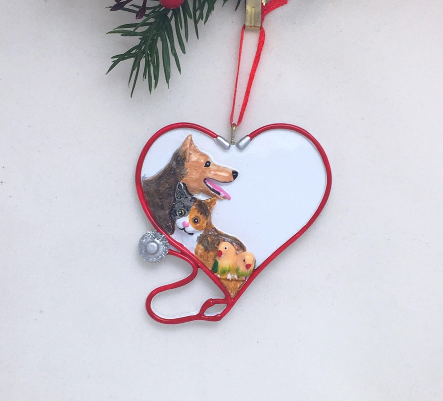 Veterinarian Ornament - Personalized Christmas Ornament - Vet Heart Ornament - Animal Lover Ornament